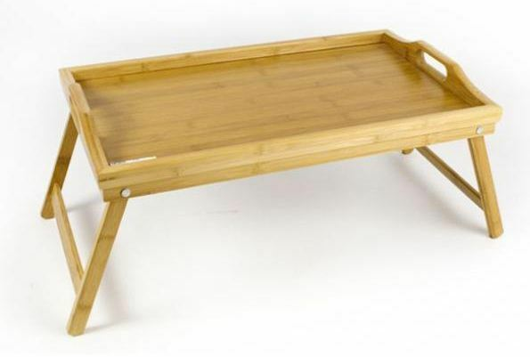 Bamboo Folding Breakfast Desk Lap Tray Over Bed Wood Table