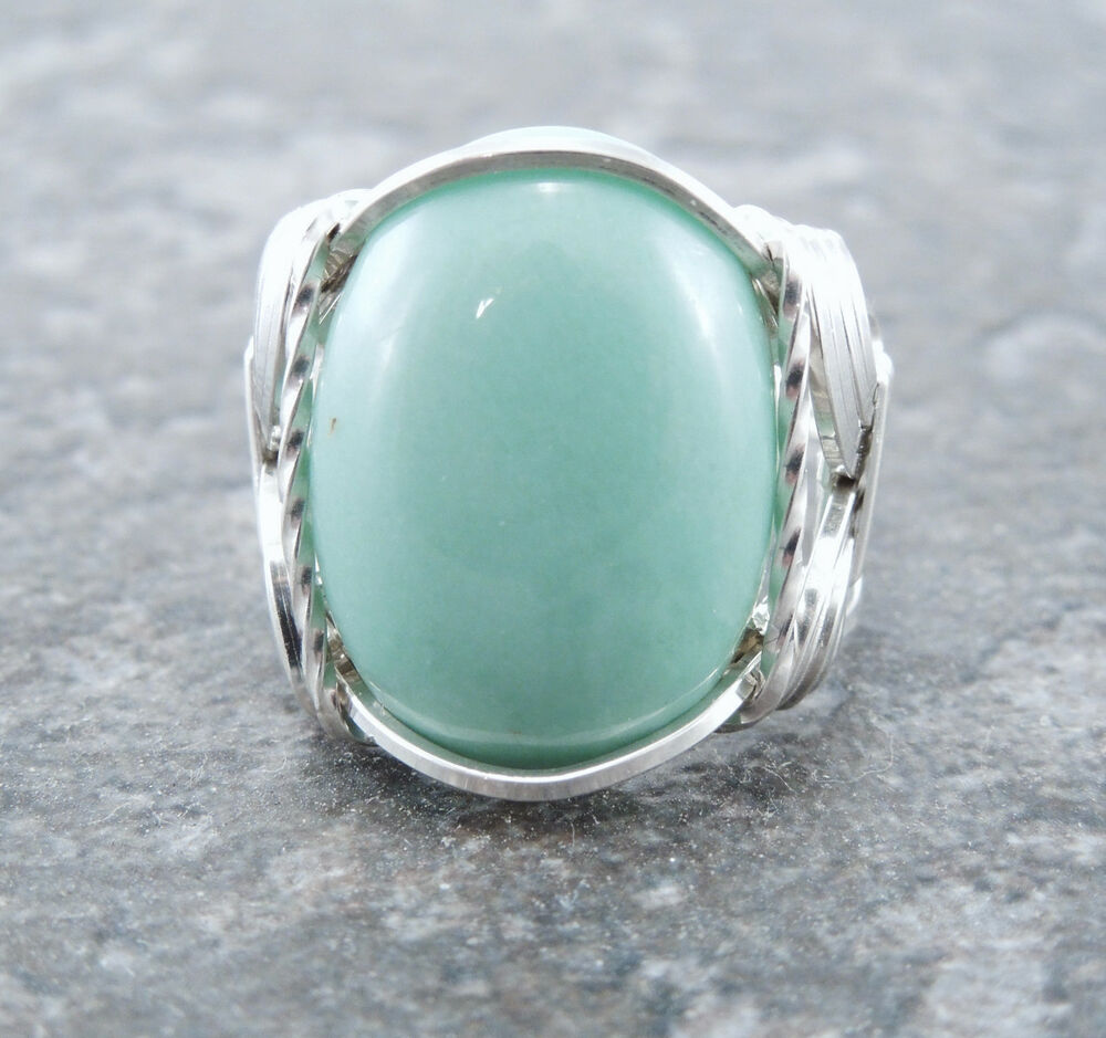 sterling silver wire wrapped variscite cabochon ring ebay