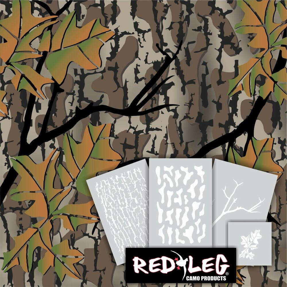 Redleg camo fall woods camouflage stencil kit 4 stencils for Camo paint template