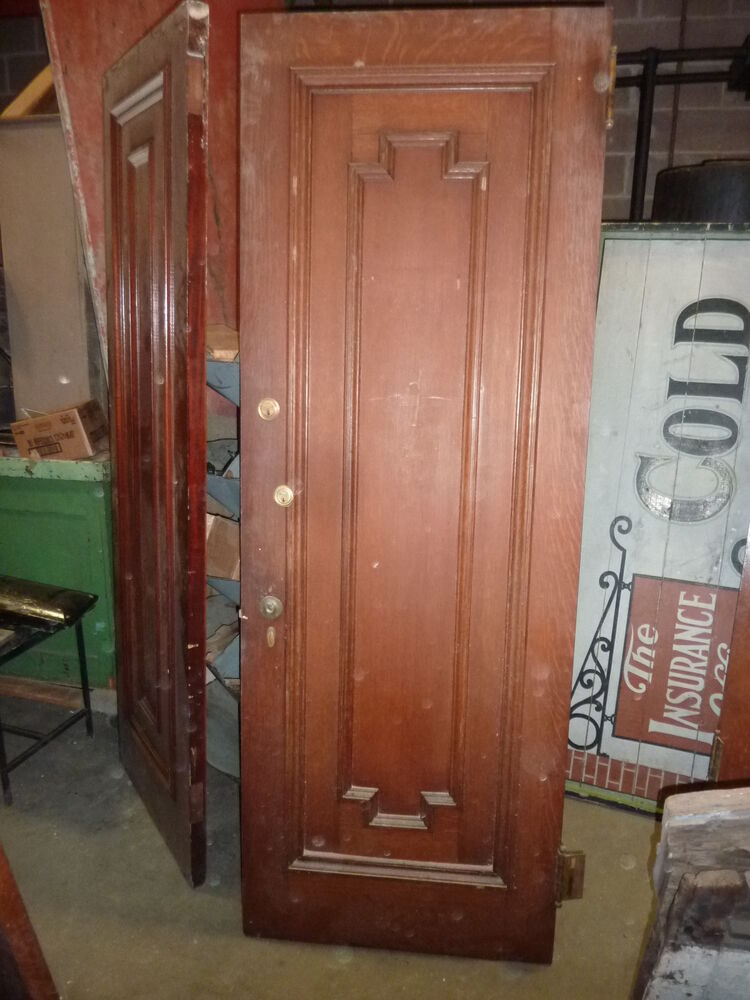 6 Panel Door History >> c1902 antique QUARTERSAWN OAK & MAHOGANY door BEAUX ARTS ...
