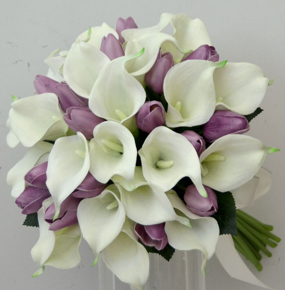 Lily Flower Wedding Bouquet: LATEX WHITE CALLA LILY PURPLE TULIP WEDDING BOUQUET POSY