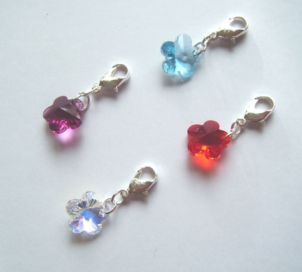 Swarovski Charm Bracelets: Flower Clip On Charm For Bracelet Made With Swarovski