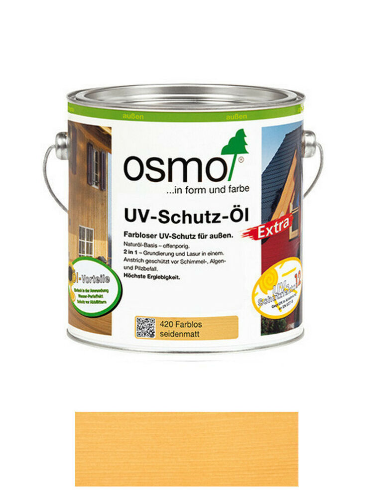 osmo uv schutz l extra 420 farblos seidenmatt 0 75 liter gebinde ebay. Black Bedroom Furniture Sets. Home Design Ideas