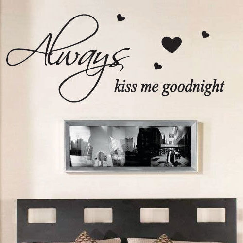 always kiss me goodnight wall quote stickers wall decals