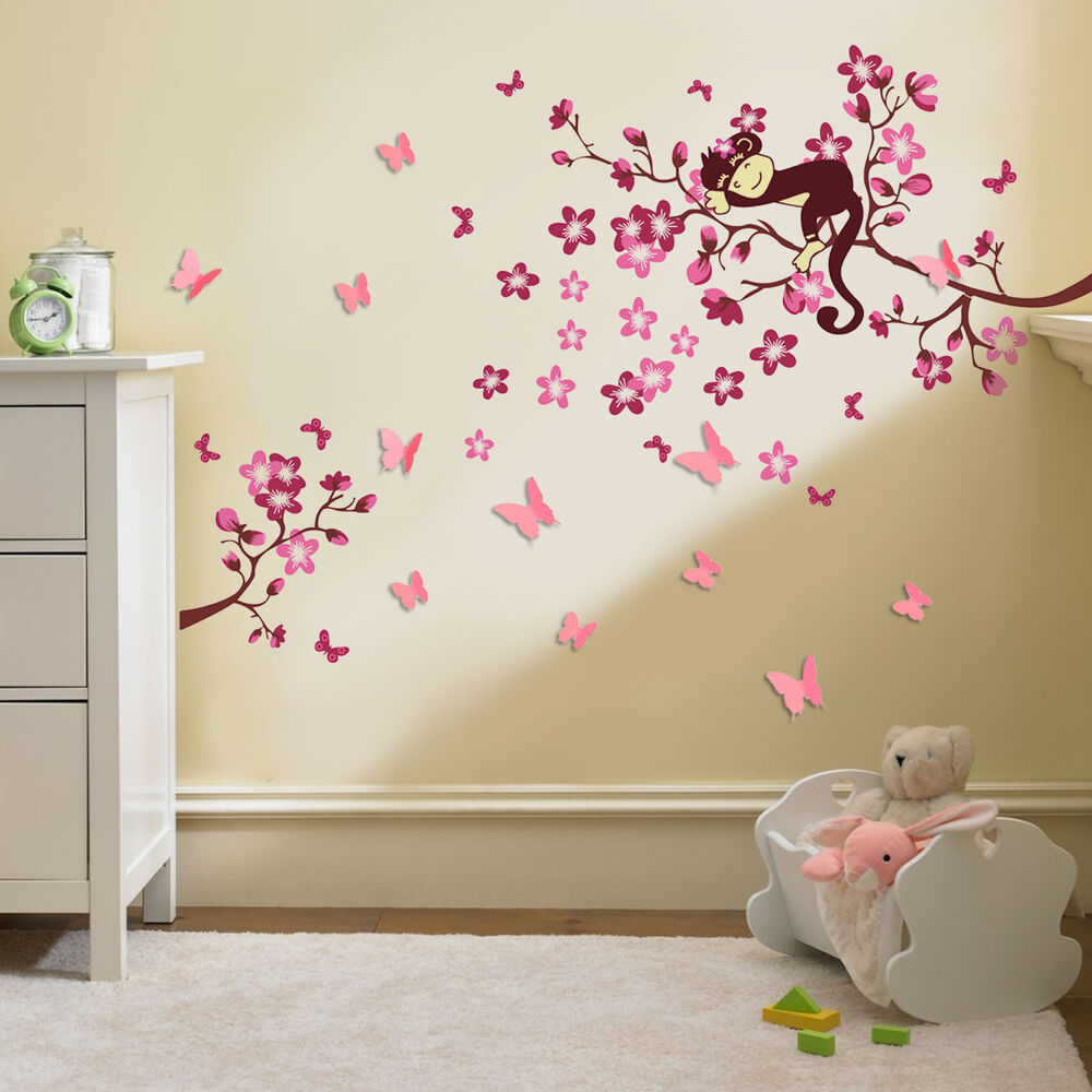 Huge 3d butterfly pink flower wall stickers children for Bedroom 3d wall stickers
