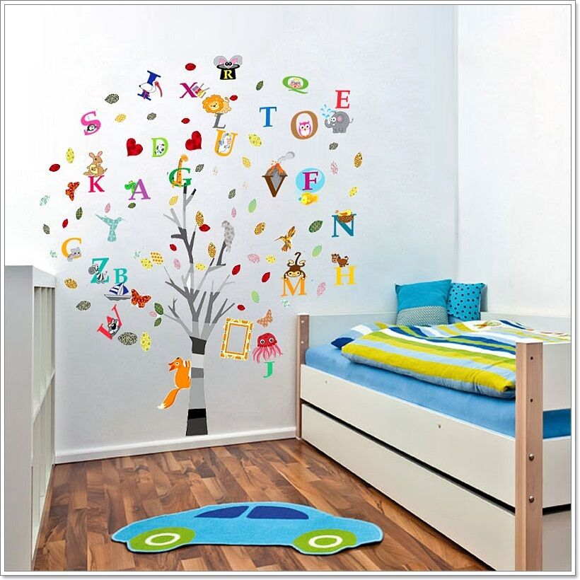 combo education alphabet animal tree wall stickers children nursery decal paper ebay. Black Bedroom Furniture Sets. Home Design Ideas