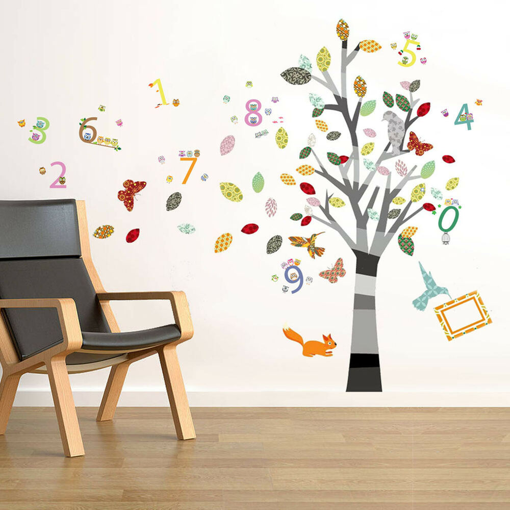 Combo Owl Alphabet Flowers Tree Wall Stickers Children Nursery Decals Wallpaper Ebay