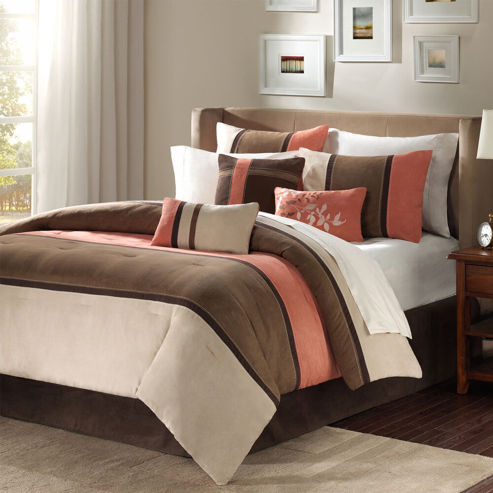 Beautiful Brown Coral Taupe Leaf Beige Modern 7pc