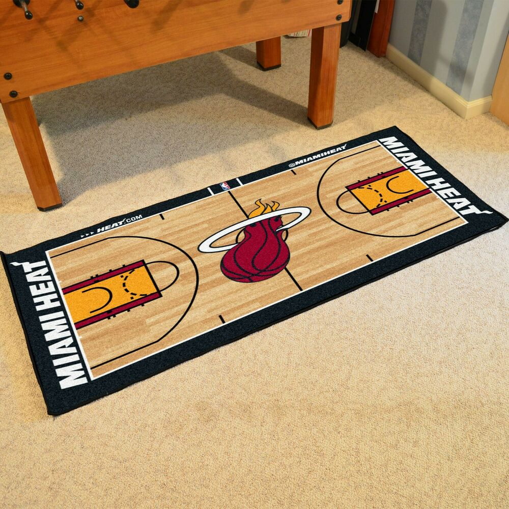 Miami Heat Large Basketball Court Runner Area Rug Mat 30