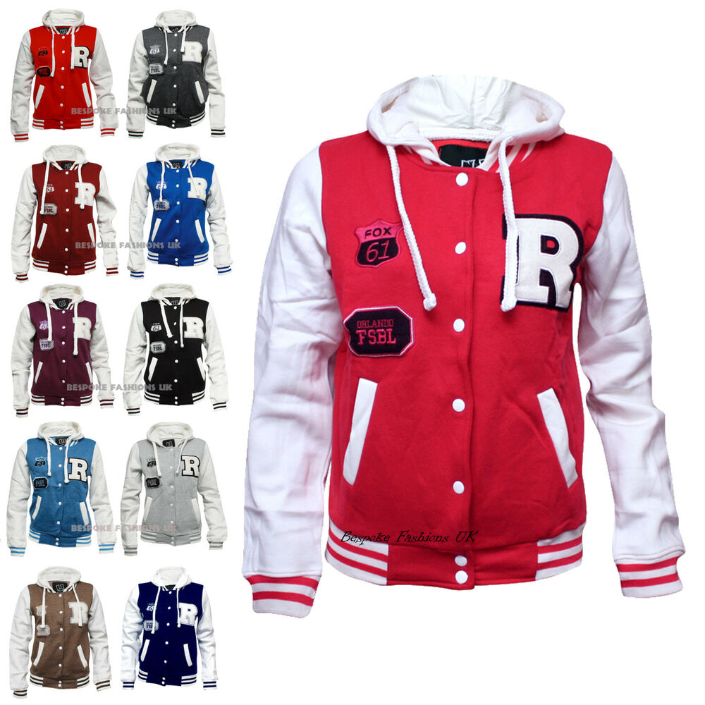 NEW WOMENS VARSITY BOMBER LADIES BASEBALL JACKET HOODIE &#034 ...