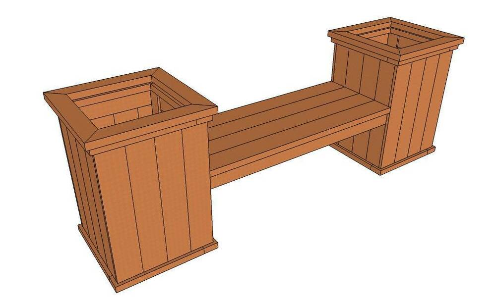 PATIO BENCH WITH ATTACHED PLANTERS (PLANS ONLY) | eBay