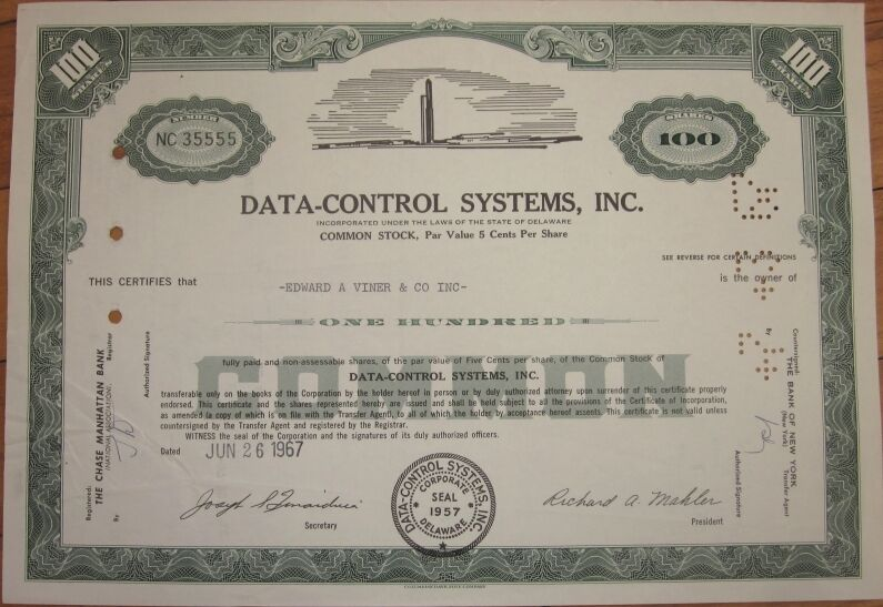 1967 Stock Certificate 39 Data Control Systems Inc