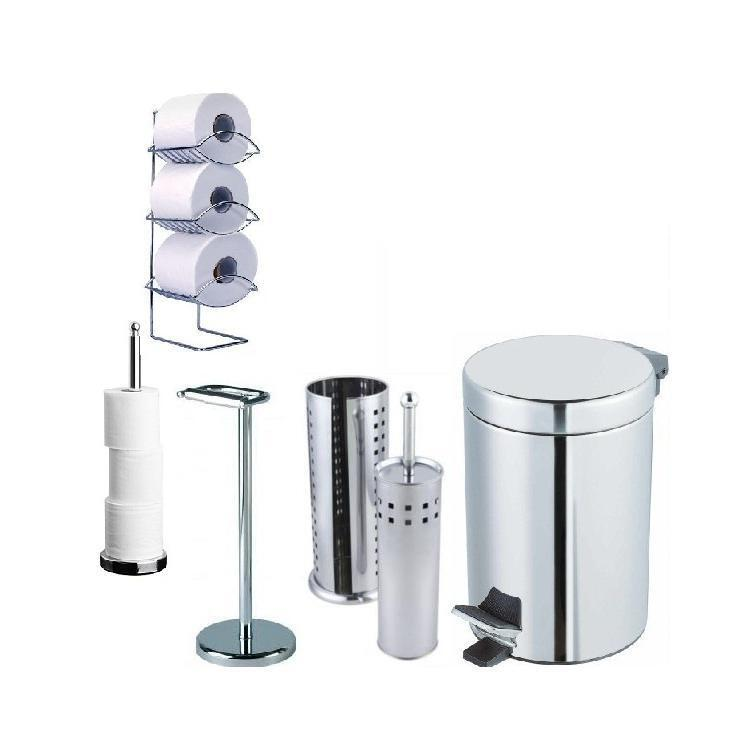 Chrome Finish Bathroom Accessories 3 Litre Kitchen Pedal Bin Toilet Roll Brush Ebay