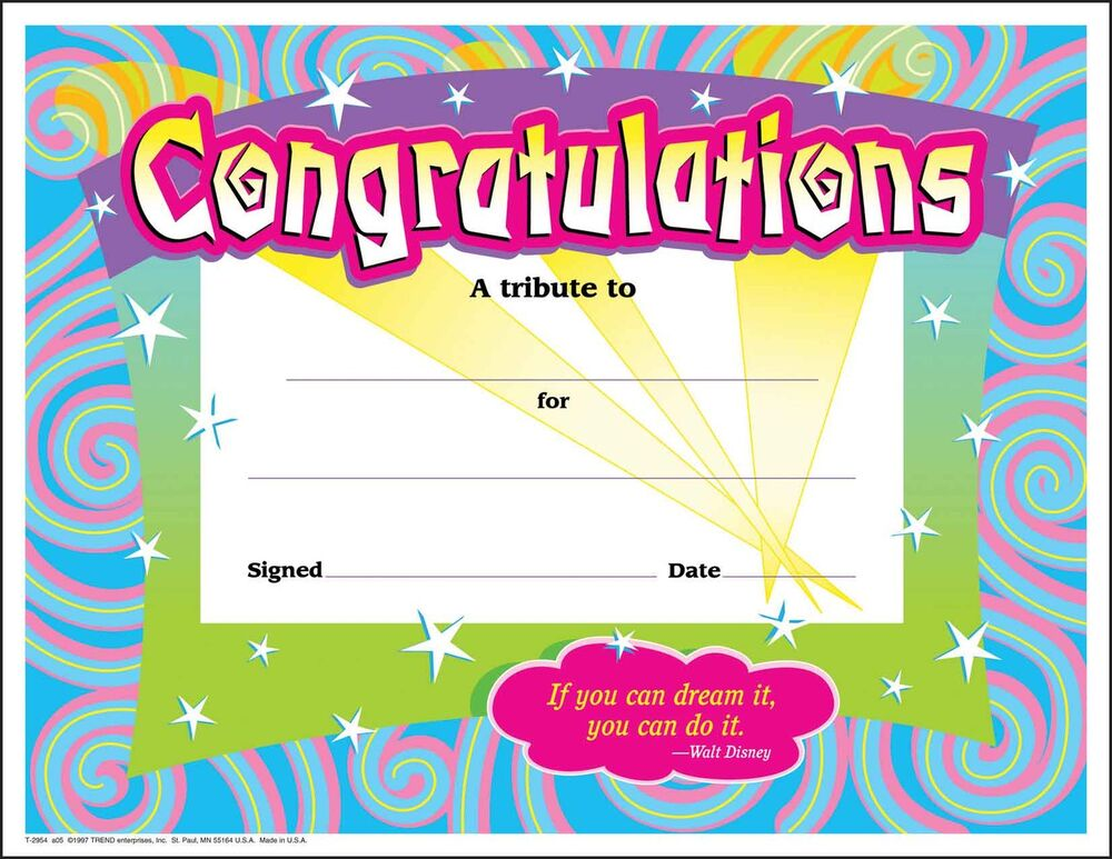 30 congratulations award  large  swirl certificate award pack by trend 78628029543