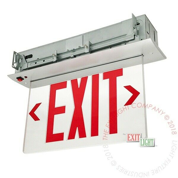 Led Recessed Lighting With Emergency Backup : Red led emergency exit light sign recessed edge lit