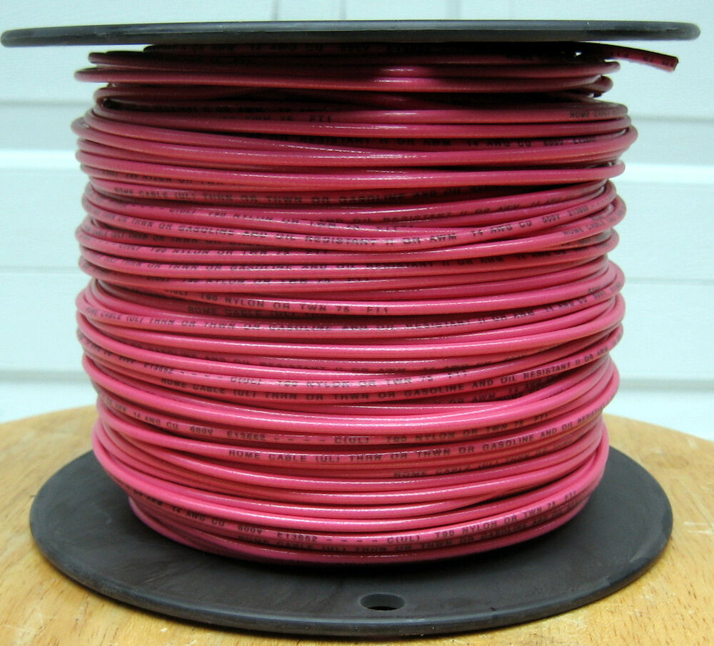 00 Copper Wire : Thhn thwn ft awg solid copper wire pink ebay
