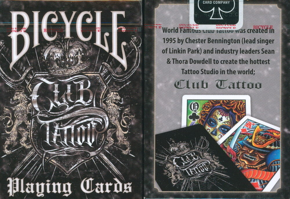 Bicycle club tattoo playing cards ebay for Bicycle club tattoo deck