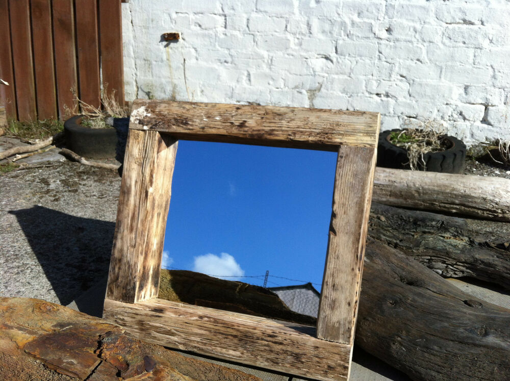 Rustic reclaimed driftwood square mirror ebay