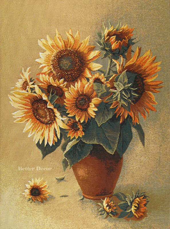 Woven Leaves Wall Decor : Wall jacquard woven tapestry sunflowers european floral