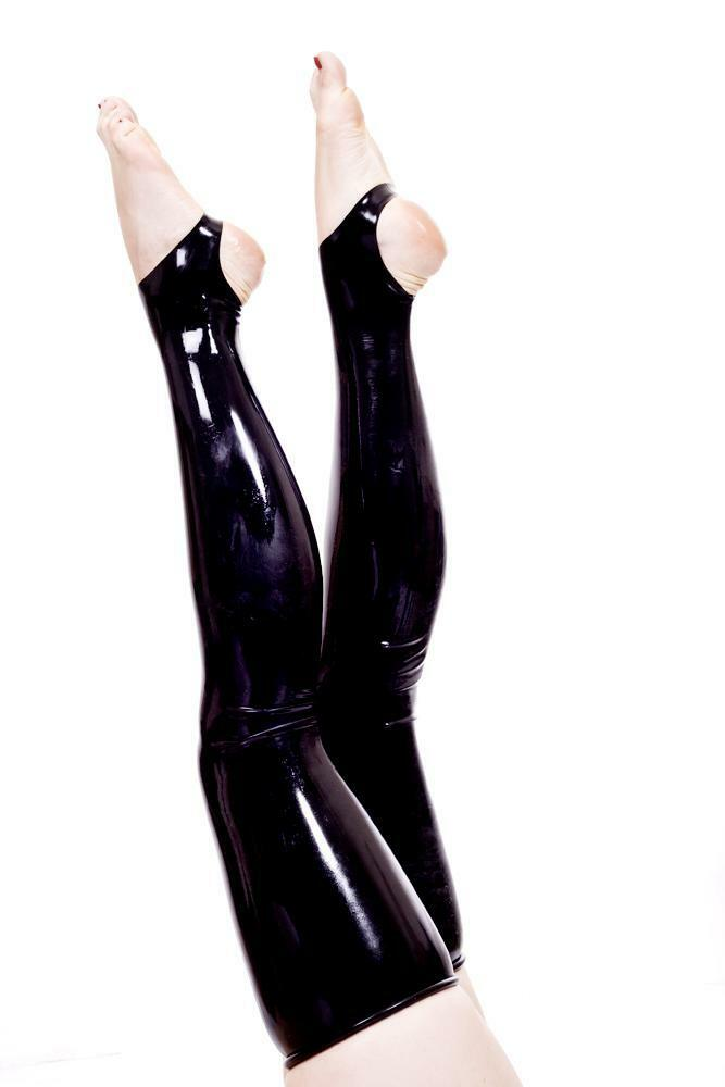 7657c45602897 Details about Latex Stockings w Stirrups - Black or Red - Rubber Fetish  Gummi