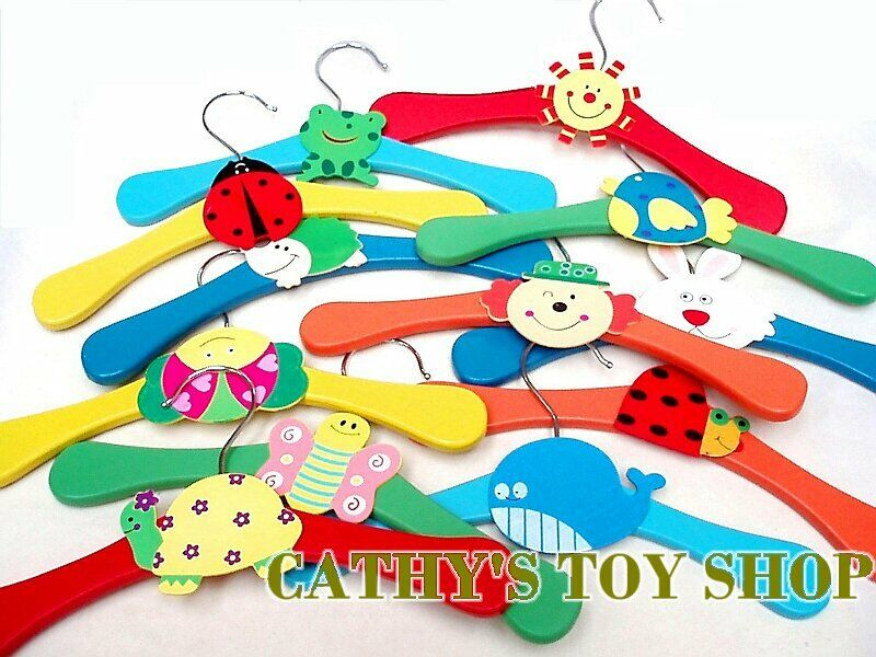 Multi Coloured Wooden Cute Baby Kids Children Coat Clothes Hangers 12 24 36 | eBay