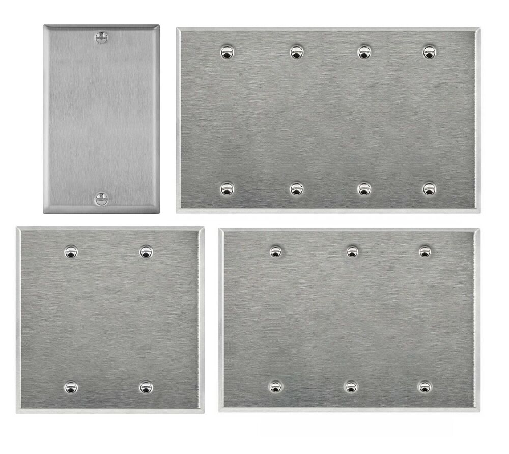 Metal Electrical Outlet Covers Oversized Outlet Covers: Brushed Stainless Steel Blank Outlet Cover / Wall Plate