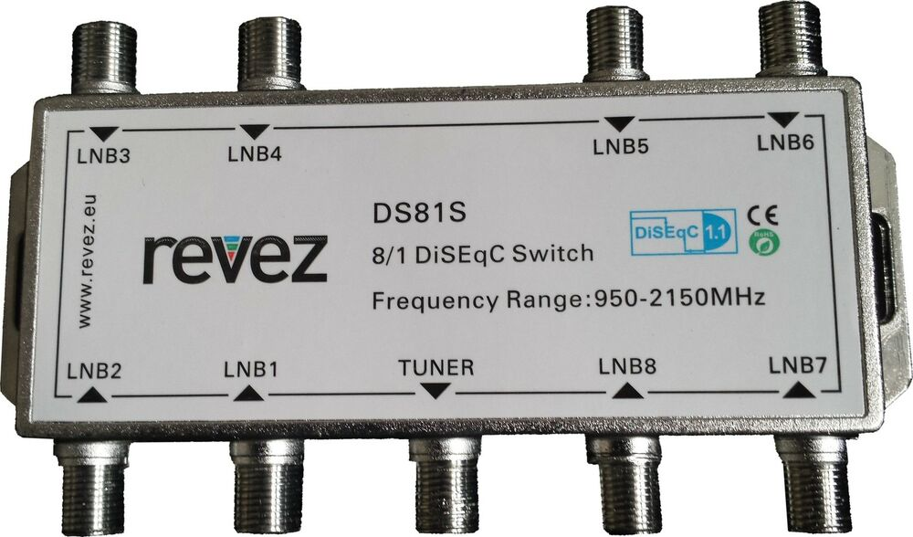 Details About 8 Way REVEZ 1 DiSEqC Satellite Switch LNBs Into Receiver 8x1 In