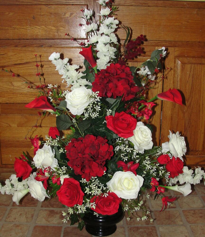 Wedding Altar Flowers Photo: Red White Event Silk Flower Arrangement Church Pew Wedding