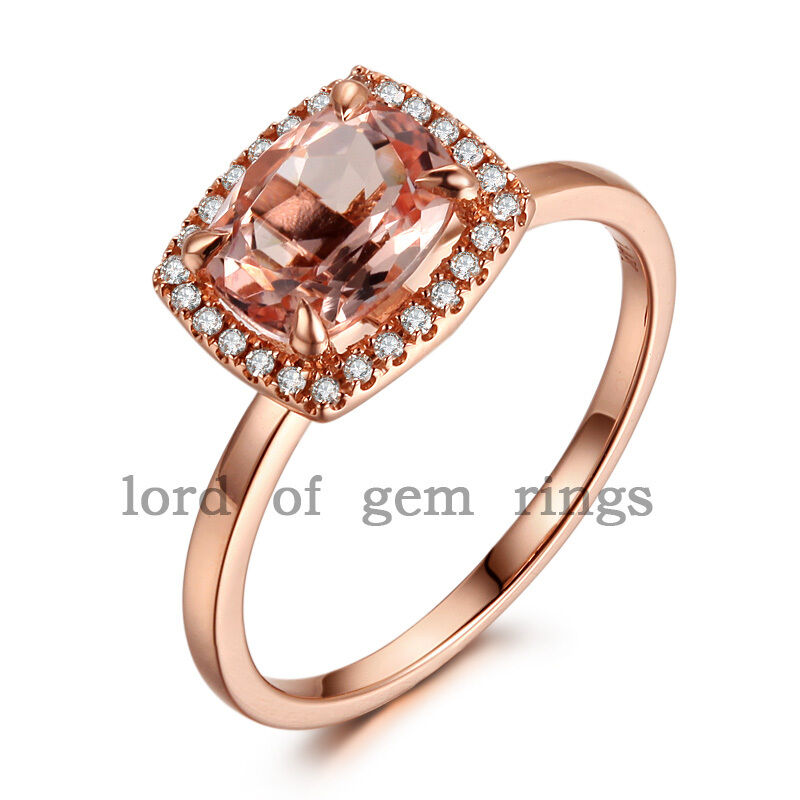 Cushion Cut 6x8mm VS Morganite Halo H SI Diamonds 14K Rose Gold Engagement Ri