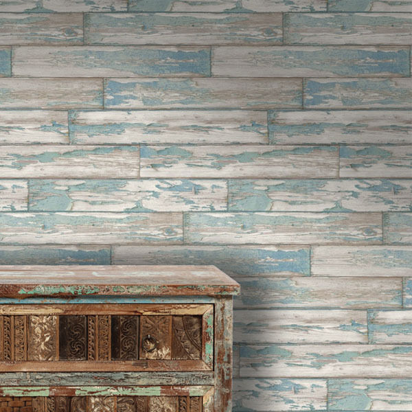 39 fatigued planks 39 designer blue faux wood paint peeling - Faux wood plank wallpaper ...