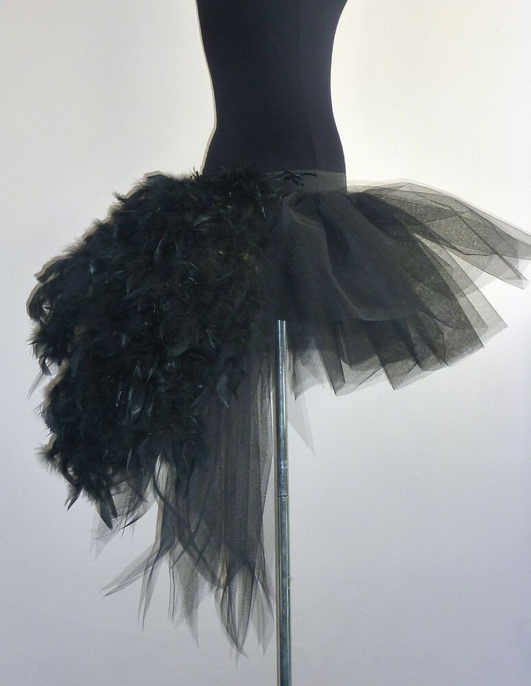 Burlesque Black Swan Tutu Skirt Feather Fancydress Sexy