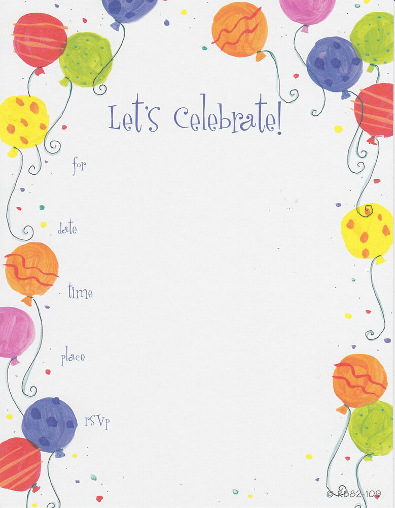 LET'S CELEBRATE PARTY INVITATIONS Birthday Fill In Adult