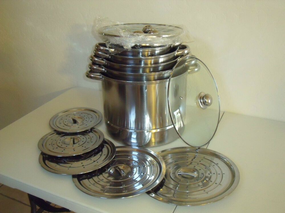New 5 Sets Jarhill 18 15 12 8 6 Qt Stainless Steel Stock
