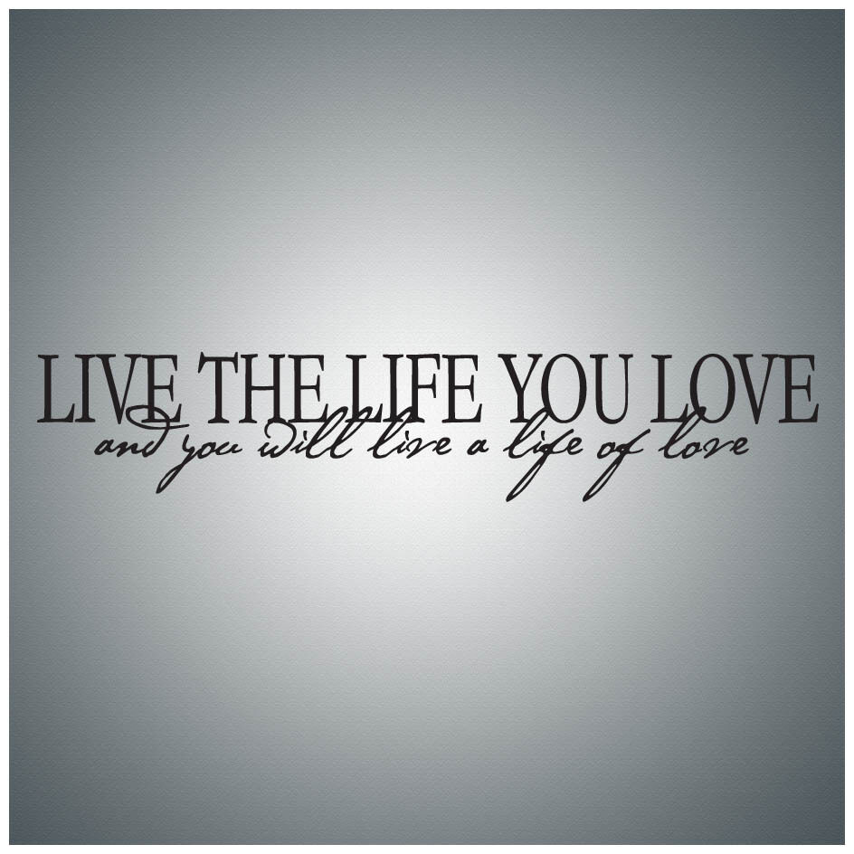 Love Quotes About Life: Live The Life You Love And You...WALL QUOTE DECAL VINYL