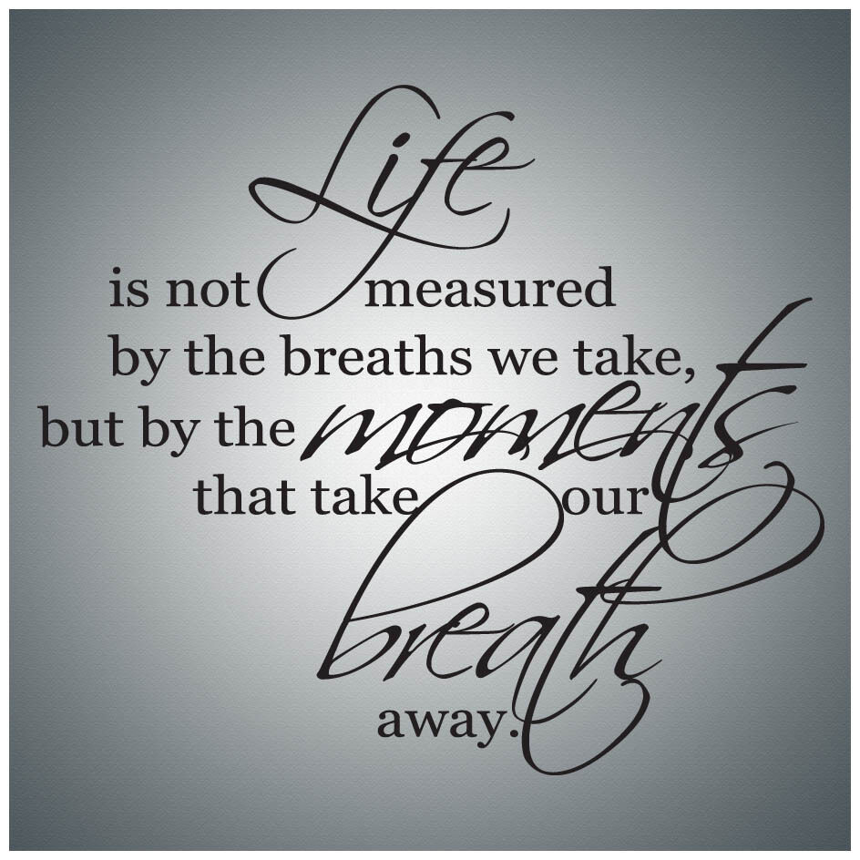 Quote Lettering Saullira: Life Is Not Measured By The...WALL QUOTE DECAL VINYL