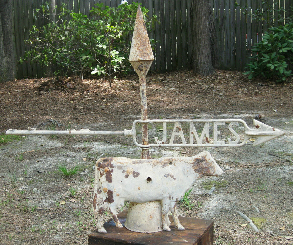 Vintage Weather Vane: Antique Vintage James Weathervane With Cow