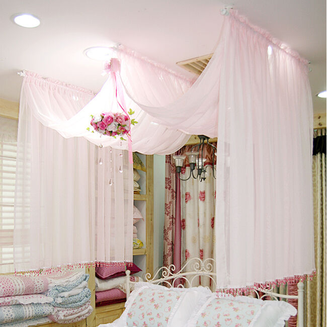 Chiffon Bed Canopy Romantic Bed Canopy Pink Color Single