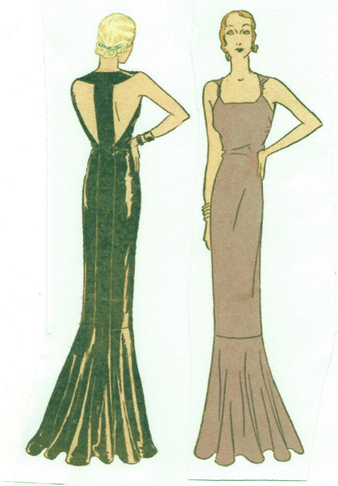1930s Vintage Sewing Pattern B34 EVENING DRESS (R952) | eBay
