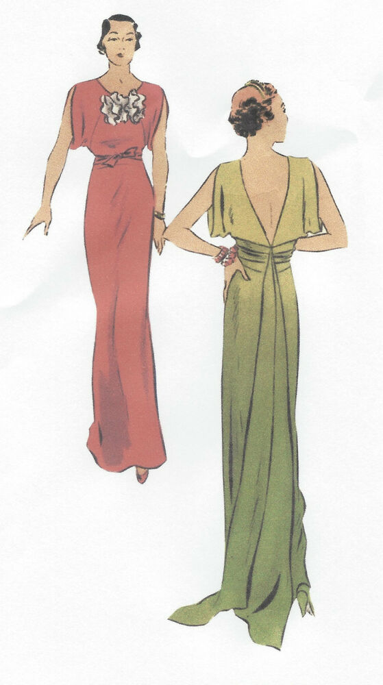 1930s Vintage Sewing Pattern B34 Evening Dress With Train