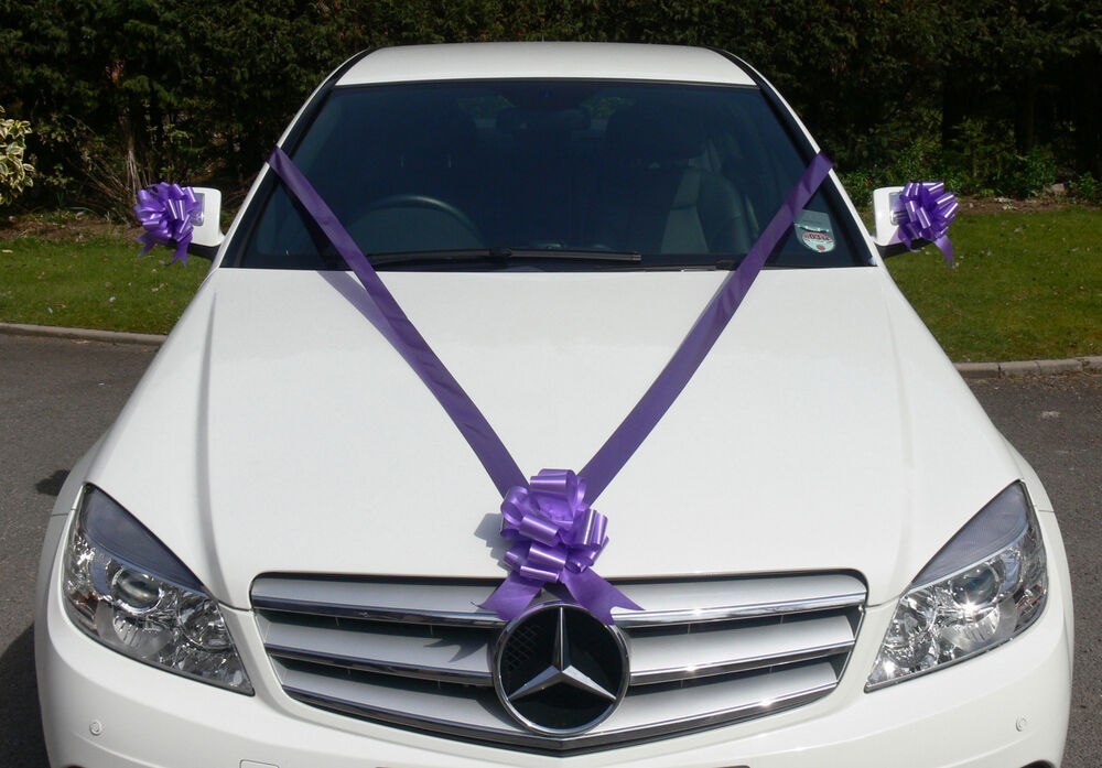 Cadbury purple wedding car decoration kit large bows 7m for Automobile decoration