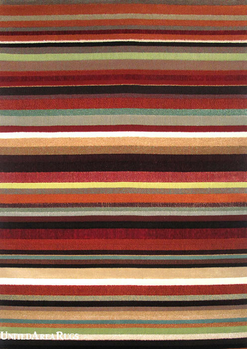 5x8 Area Rug Modern Contemporary Design Rainbow Striped