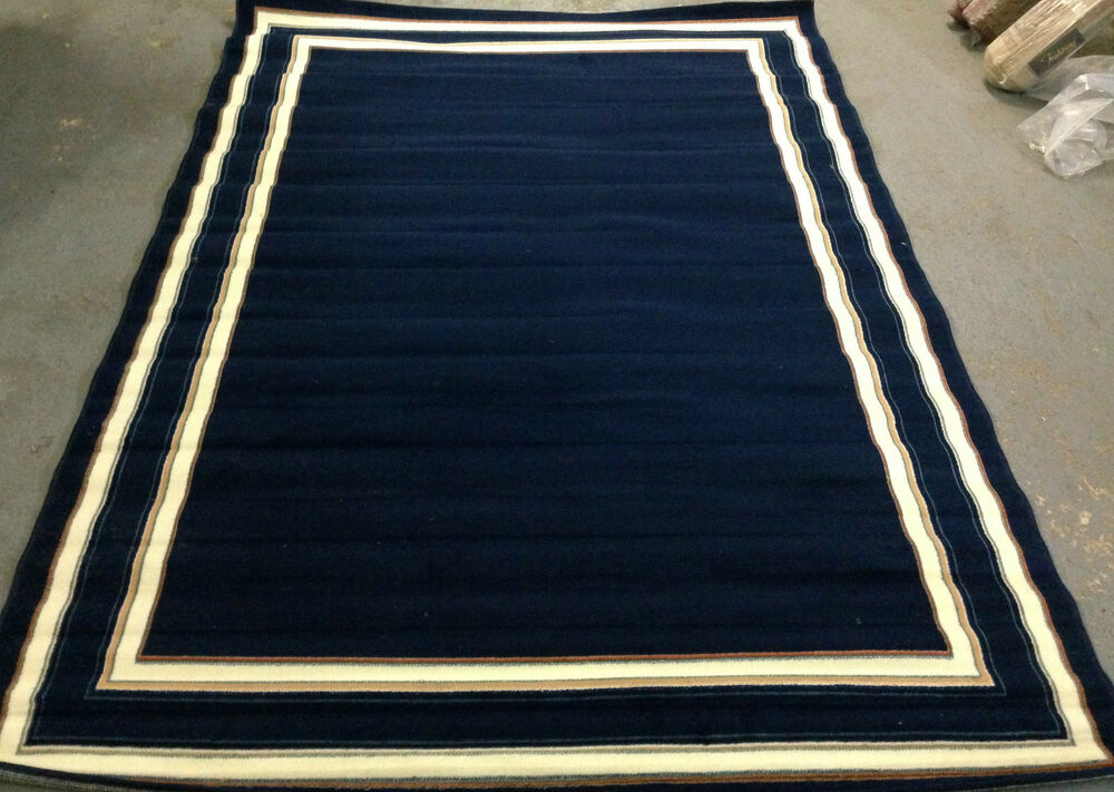 Solid Navy Blue Area Rug 7x10 White Border 6 9 Quot X9 8 Quot New