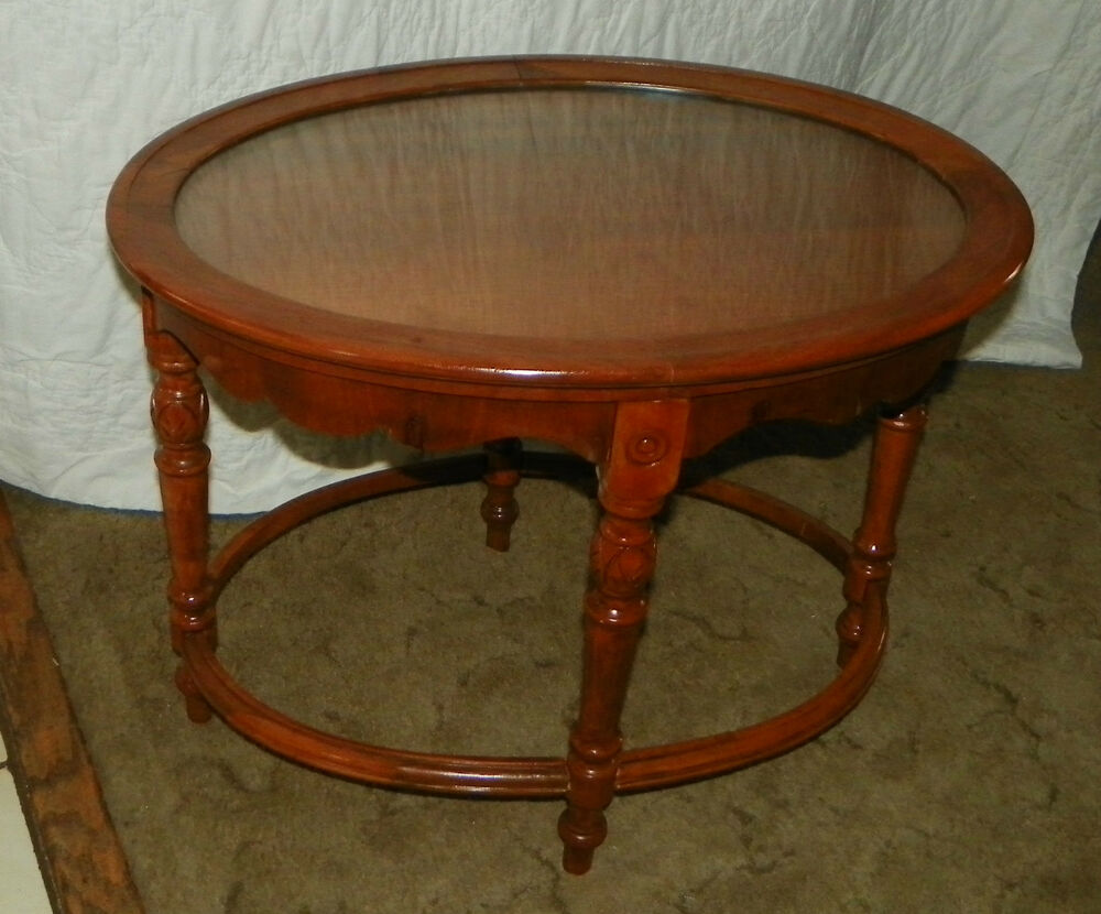 Oval walnut glass tray coffee table ct46 ebay for Trays on coffee tables