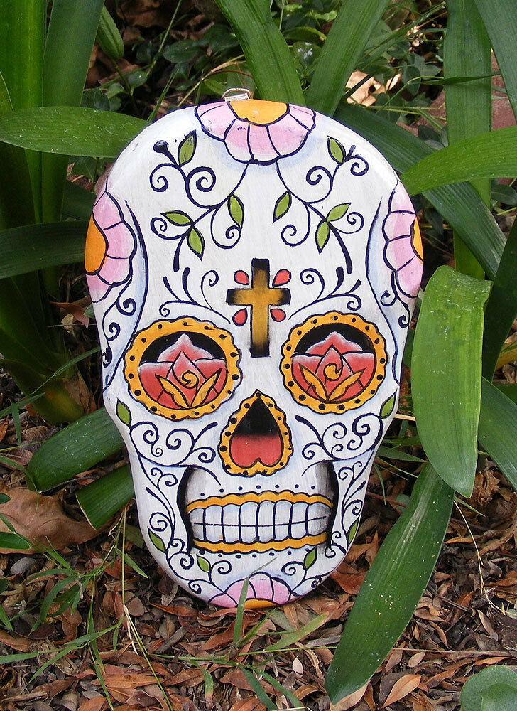 Sugar skull mask plaque dia de los muertos cantina bar for Advanced molding and decoration s a de c v