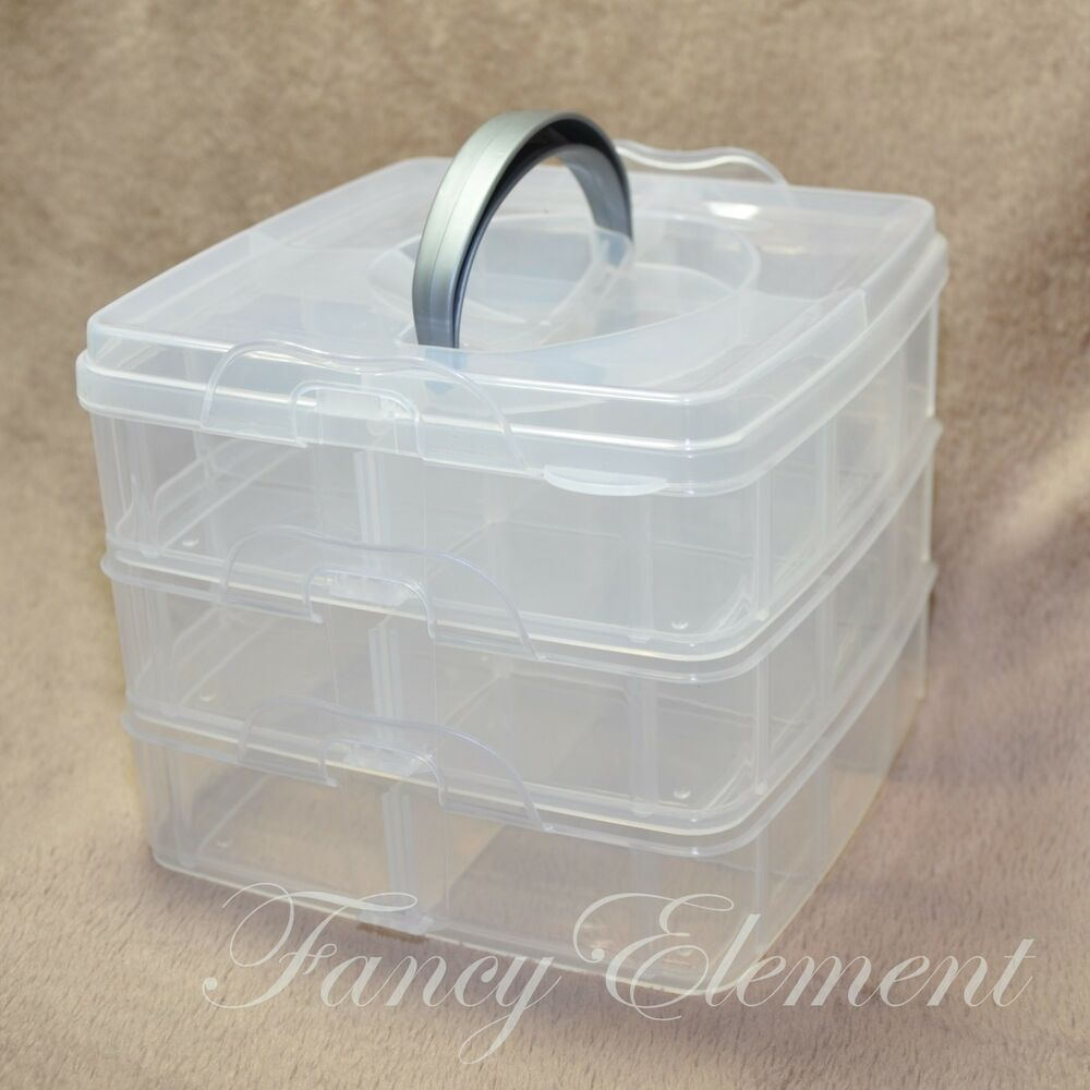 3 layer hand carry plastic storage box container bead for Craft storage boxes plastic