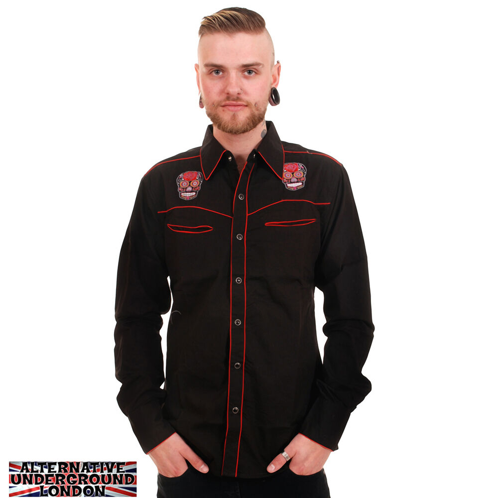 new mens western rockabilly shirt embroidered mexican
