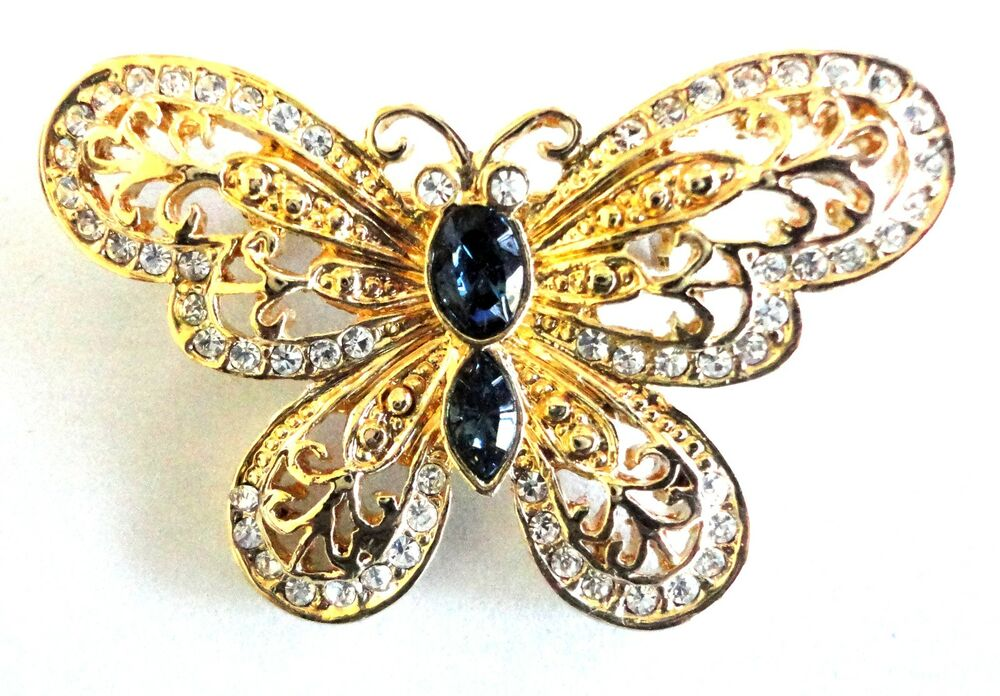 Brooch Vintage Gold Plated Butterfly Crystal Pin Free Shipping Fashion Jewelry Ebay