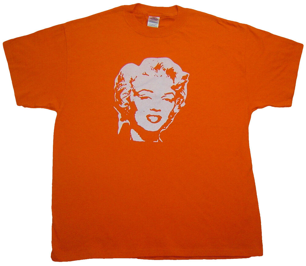 Marilyn monroe large screen printed t shirt orange for Vintage screen print t shirts