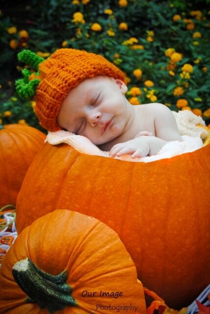 Newborn Infant Baby Pumpkin Orange Hat Crochet Photo Prop