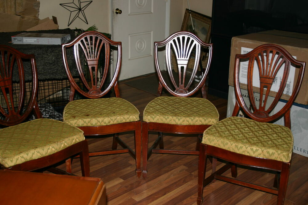 4 shield back dining chairs sheraton antique duncan phyfe